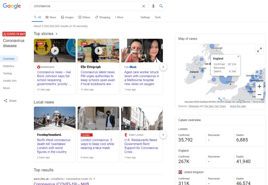 coronavirus overview on google