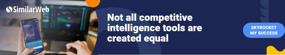 Similarweb logo phone and computer with analytis and banner about competitive intelligence