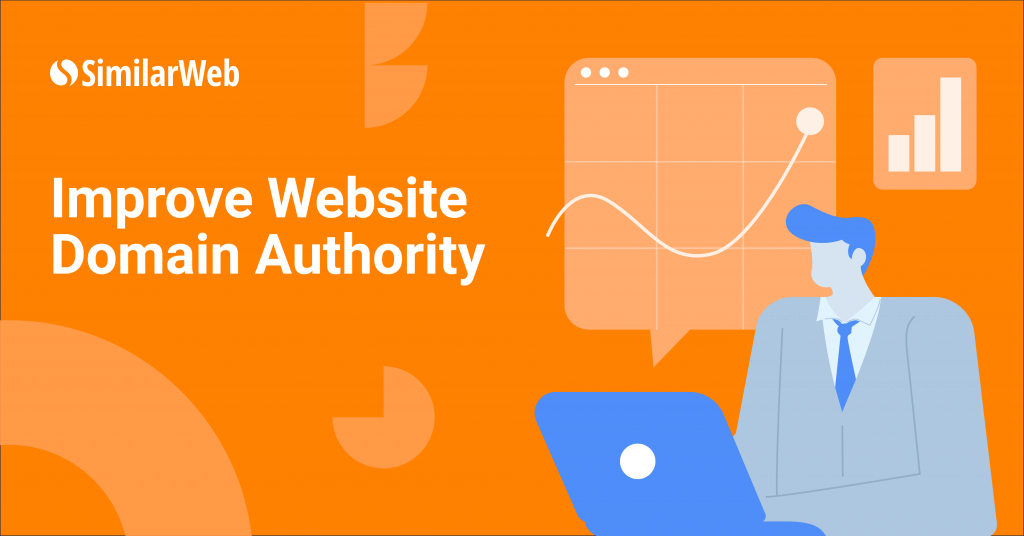 Improve Website Domain Authority with an illustration of a man in a suit and graphs