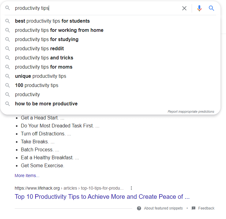 Google Search of Productivity tips