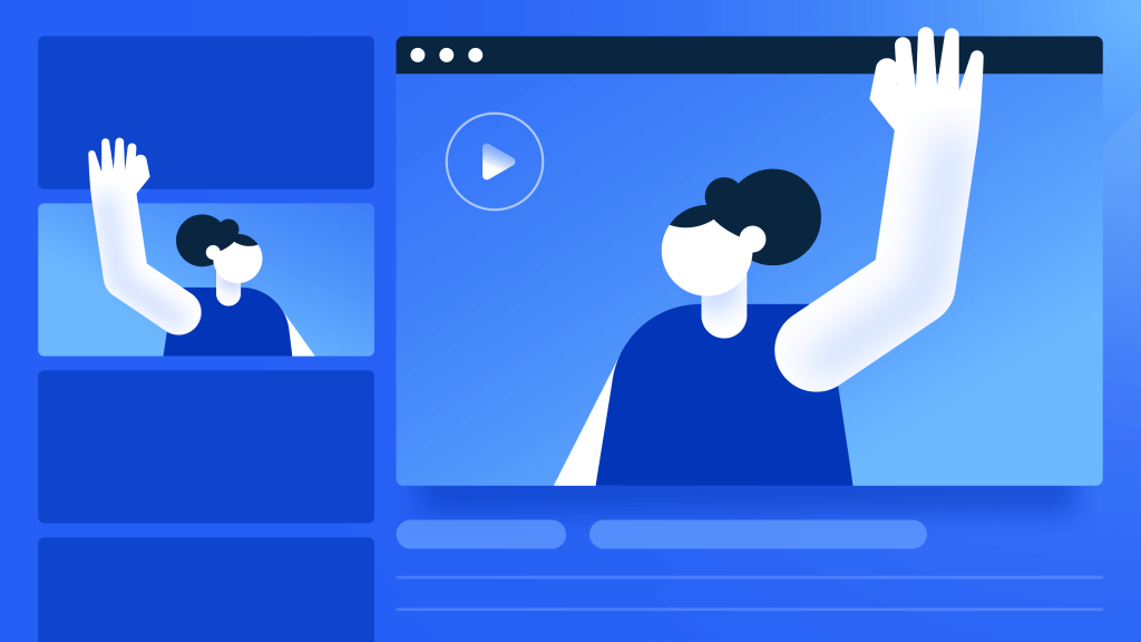 illistration of woman waving to woman for youtube thumbnails