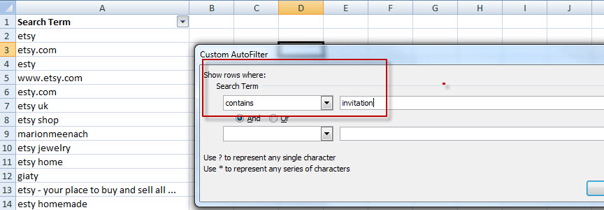 Excel filter contains