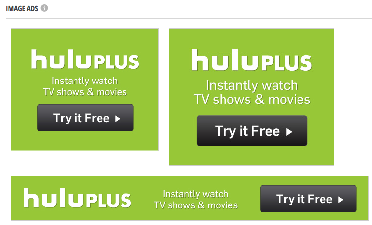 Creative from Hulu's top banner ads