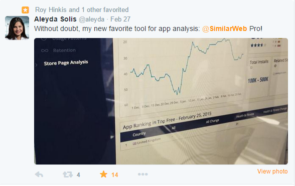 Tweet from SEO expert and SimilarWeb PRO user Aleyda Solis